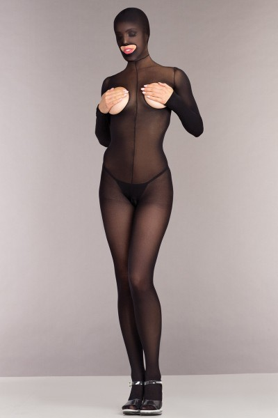 Ouvert Catsuit ohne Cups mit Kapuze